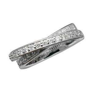 "925 Silver Criss Cross ""X"" CZ Diamond Ring"